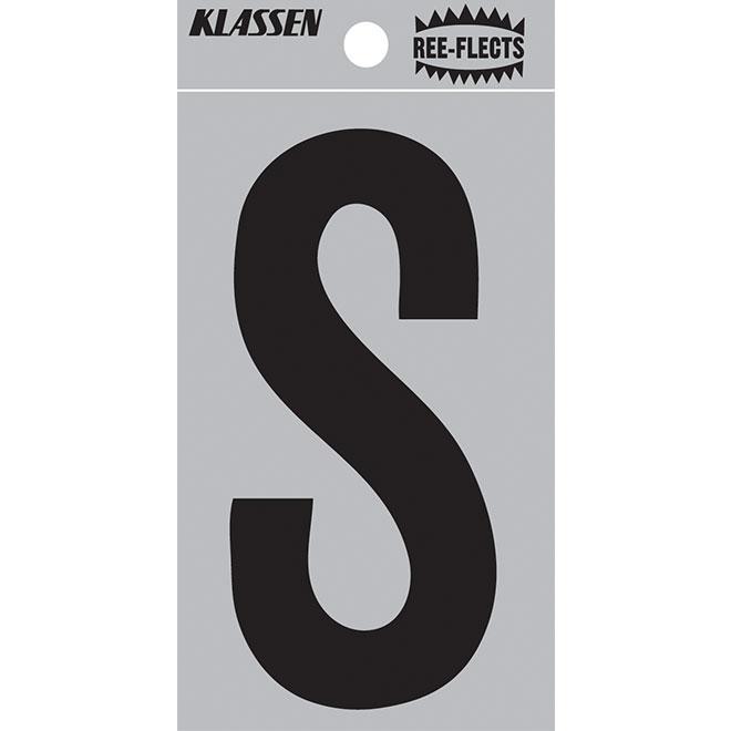 """Lettre réfléchissante, S, 3"""", noir"""