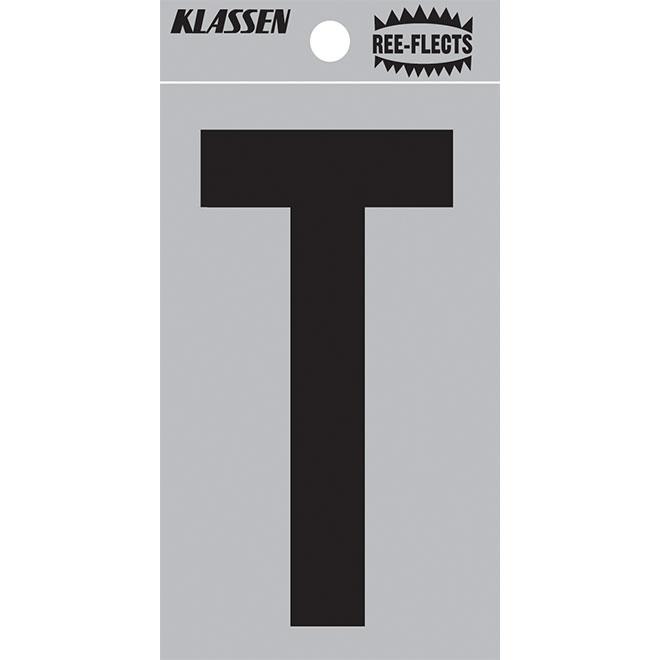 """Lettre réfléchissante, T, 3"""", noir"""