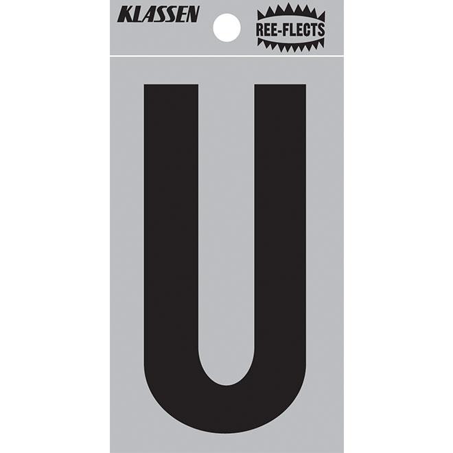 """Reflective Letter - U - 3"""" - Black"""