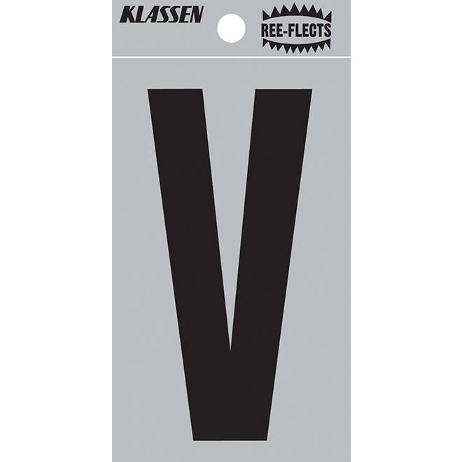 """Reflective Letter - V - 3"""" - Black"""