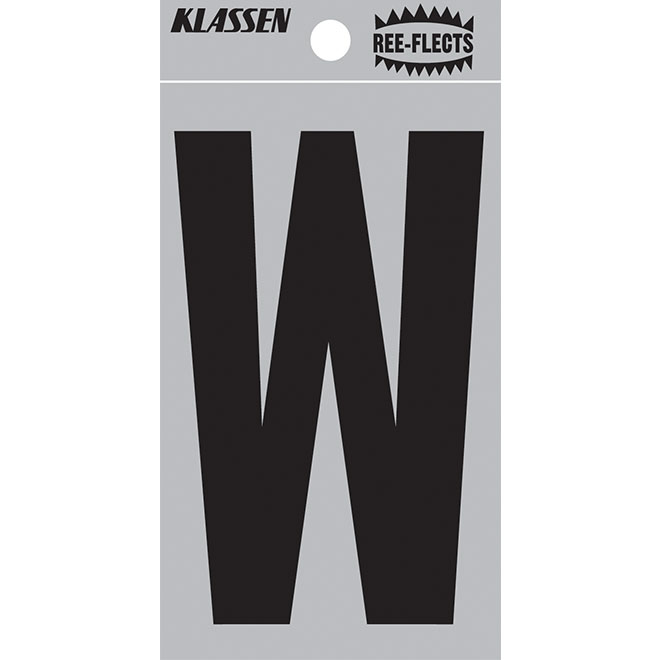 "Reflective Letter - W - 3"" - Black"