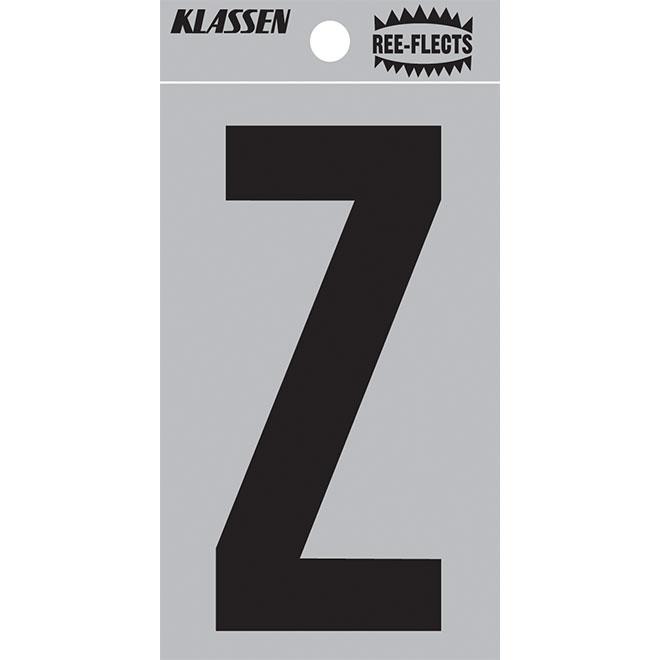 """Reflective Letter - Z - 3"""" - Black"""
