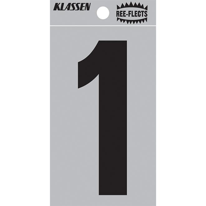 """Reflective Number - #1 - 3"""" - Black"""