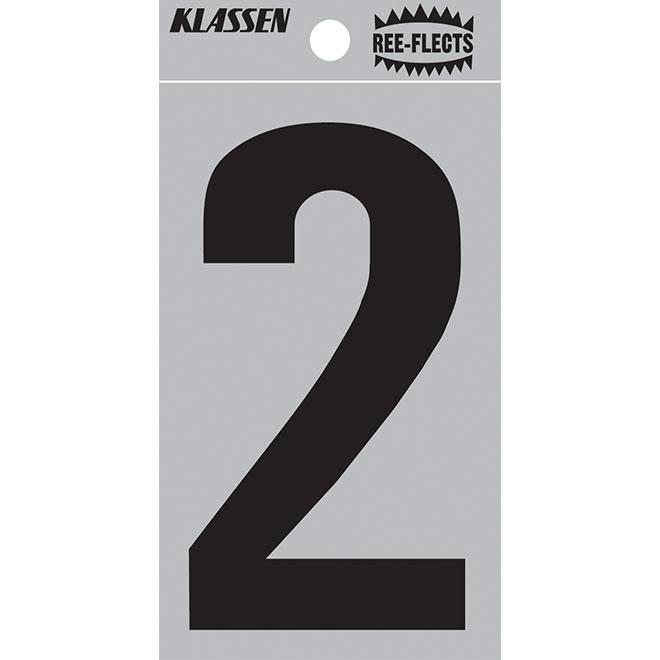 """Reflective Number - #2 - 3"""" - Black"""