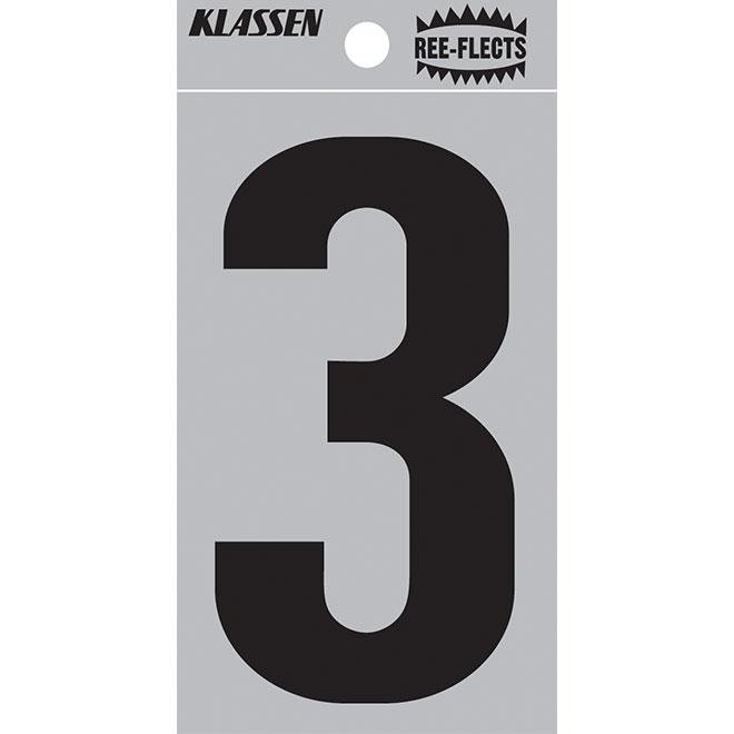 """Reflective Number - #3 - 3"""" - Black"""