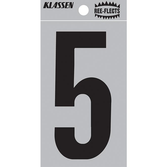 """Chiffre réfléchissant, #5, 3"""", noir"""