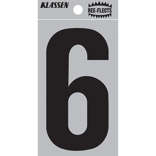 """Reflective Number - #6 - 3"""" - Black"""