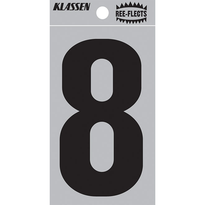 "Reflective Number - #8 - 3"" - Black"