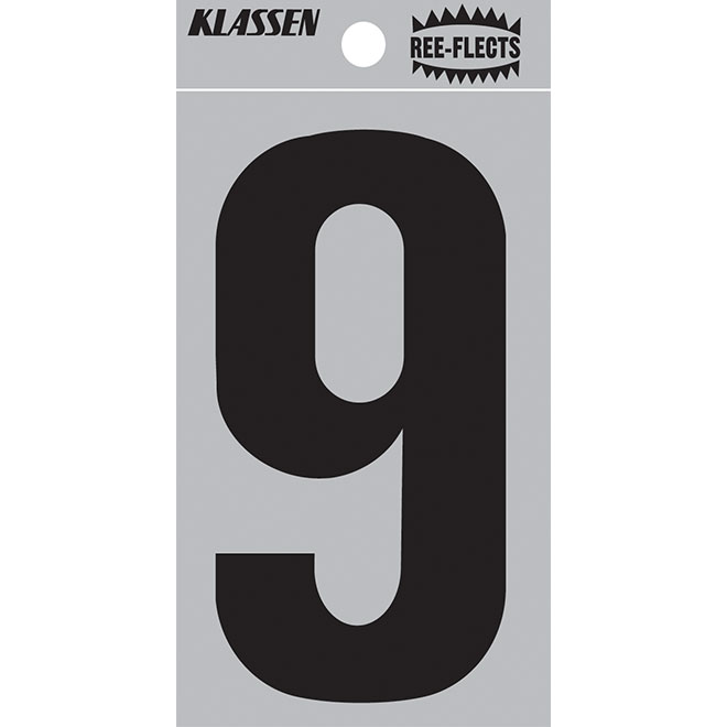 "Reflective Number - #9 - 3"" - Black"