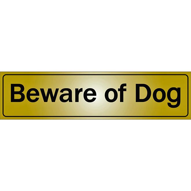 """""""Beware of Dog"""" Metal Sign - 2"""" x 8"""" - Black"""