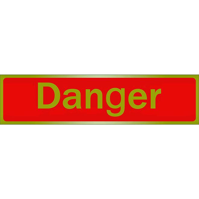 """Écriteau « Danger » en métal, 2"""" x 8"""", rouge et doré"""