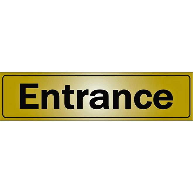 """""""Entrance"""" Metal Sign - 2"""" x 8"""" - Black"""
