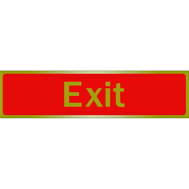 """""""Exit"""" Metal Sign - 2"""" x 8"""" - Red and Gold"""