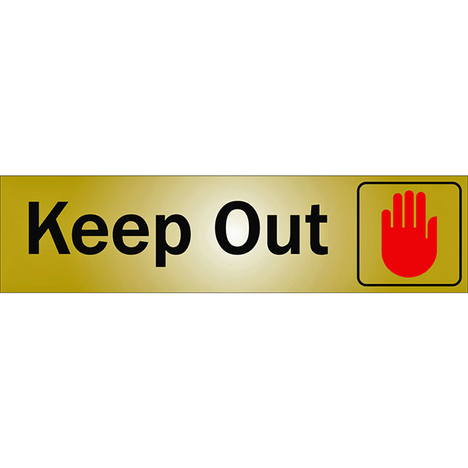 """""""Keep Out"""" Metal Sign - 2"""" x 8"""" - Black"""