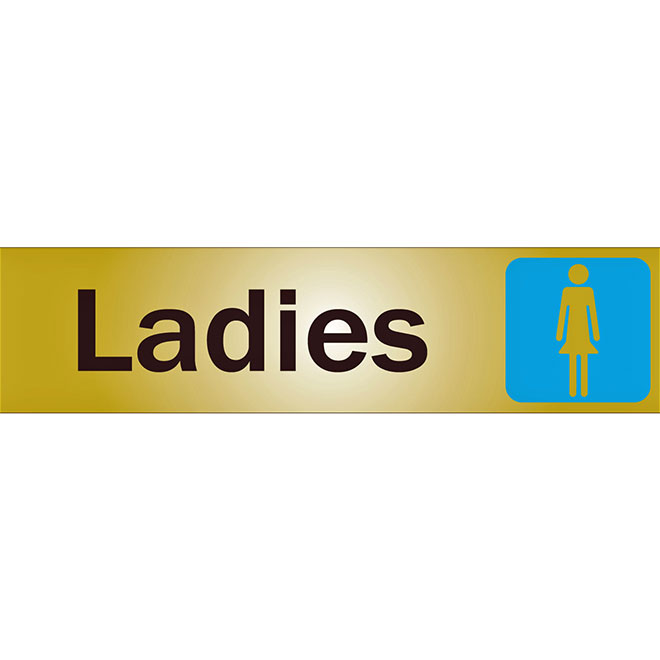 """Ladies"" Metal Sign - 2"" x 8"" - Black"