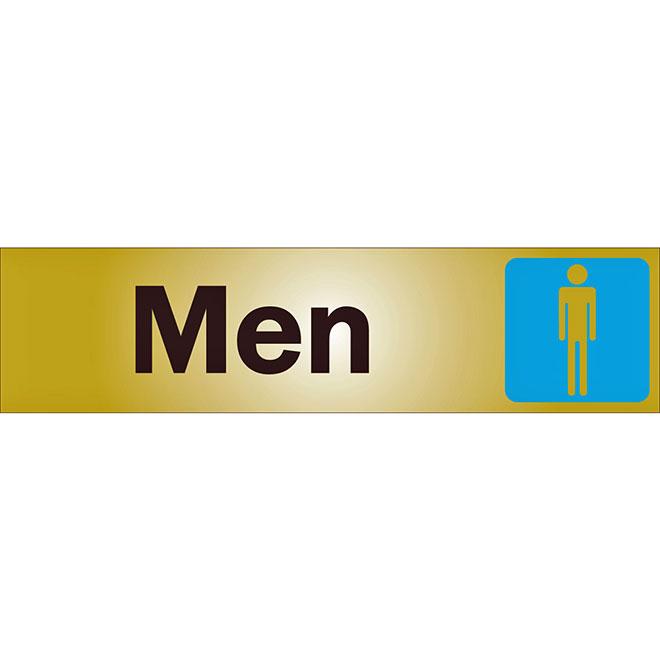 """Men"" Metal Sign - 2"" x 8"" - Black"