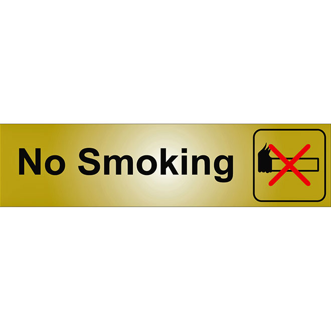 """No Smoking"" Metal Sign - 2"" x 8"" - Black"