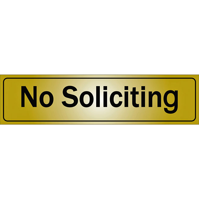 "Écriteau anglais « No Soliciting » en métal, 2"" x 8"", noir"