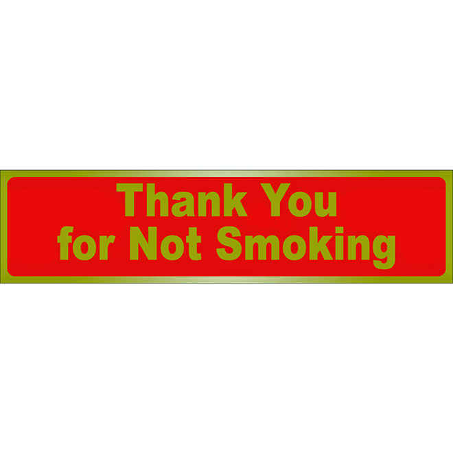 """Thank You for Not Smoking"" Sign - 2"" x 8"" - Red and Gold"