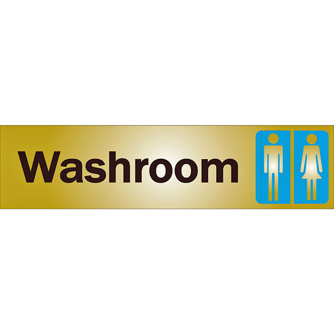 """Washroom"" Metal Sign - 2"" x 8"" - Black"