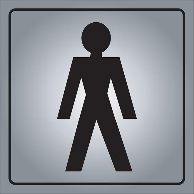 """Men"" International Sign - 5 1/2"" x 5 1/2"" - Aluminum"