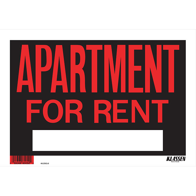 """Apartment for Rent"" Sign - 8"" x 12"""