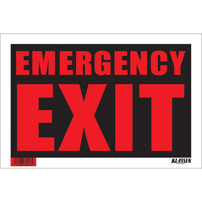 """""""Emergency Exit"""" Sign - 8"""" x 12"""""""