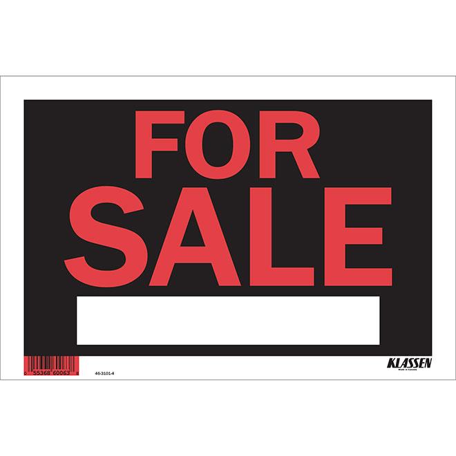 Écriteau anglais « For Sale » à fort impact