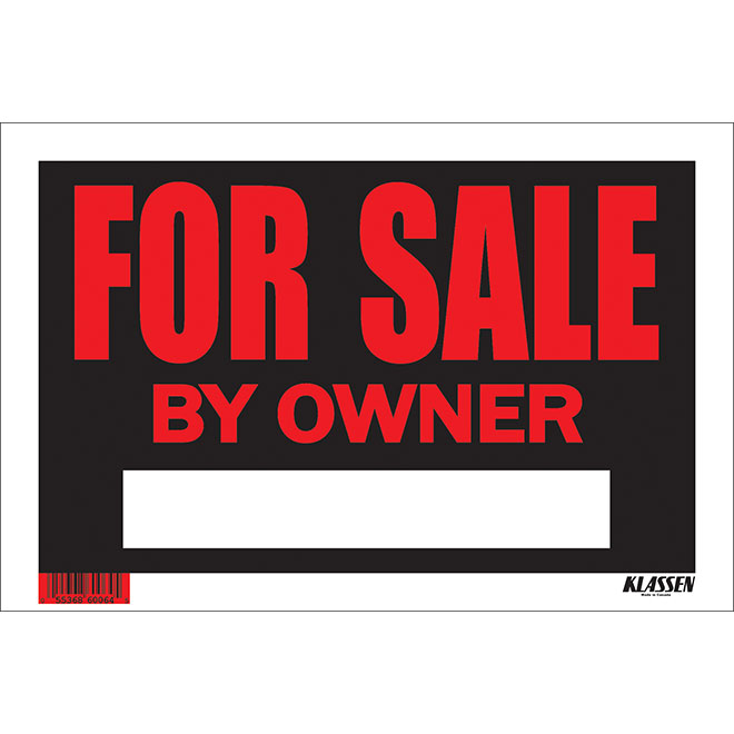 """For Sale by Owner"" Vinyl Sign - Black"