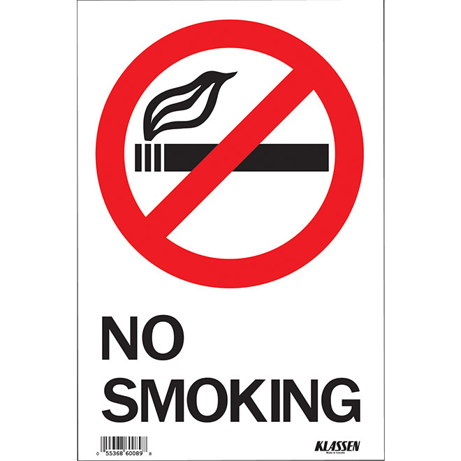 """No Smoking"" Metal Sign - Black"