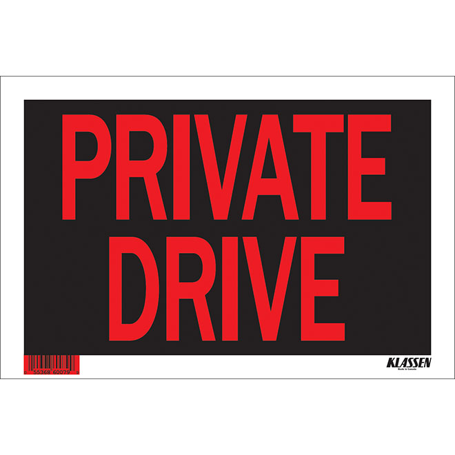 """""""Private Driveway"""" Metal Sign - Black"""