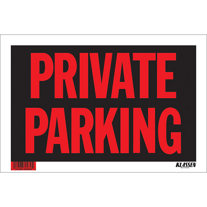 """""""Private Parking"""" Sign - 8"""" x 12"""""""
