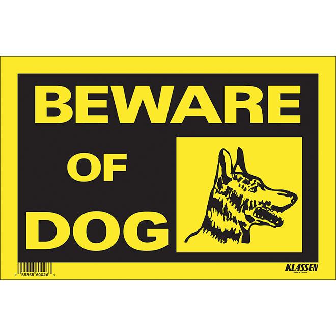 """Beware of Dog"" Sign - 8"" x 12"""