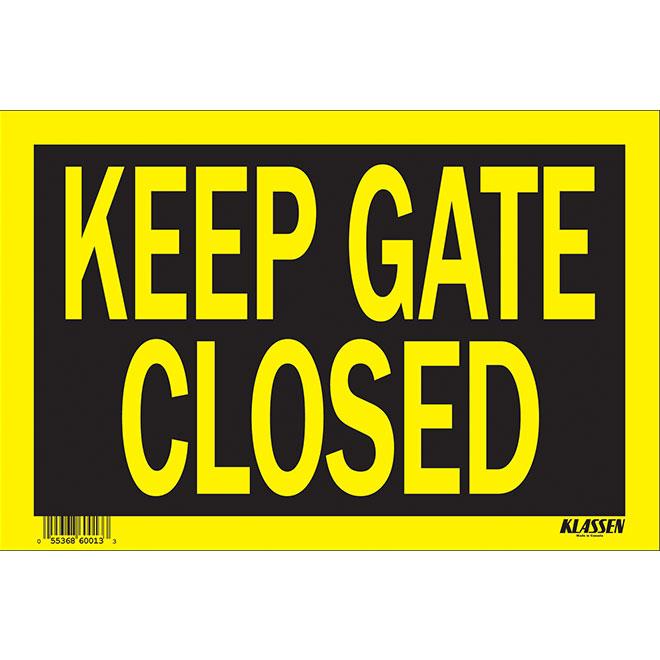 Écriteau anglais « Keep Gate Closed » en métal, noir