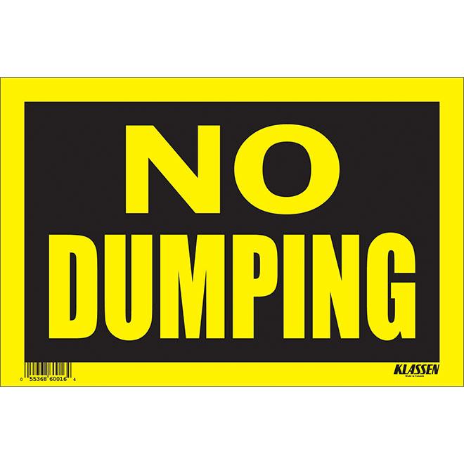Écriteau anglais « No Dumping » en métal, noir