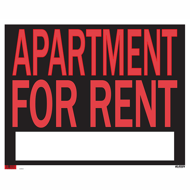 """""""Apartment for Rent"""" Sign - 19"""" x 24"""""""