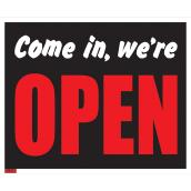 Écriteau anglais « Come in, we're Open », jumbo