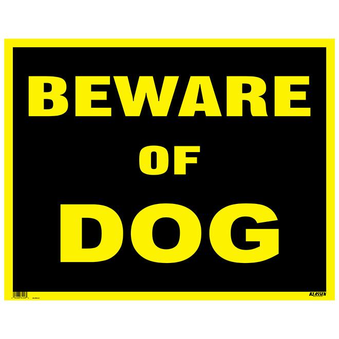 "Écriteau anglais « Beware of Dog », 19"" x 24"""