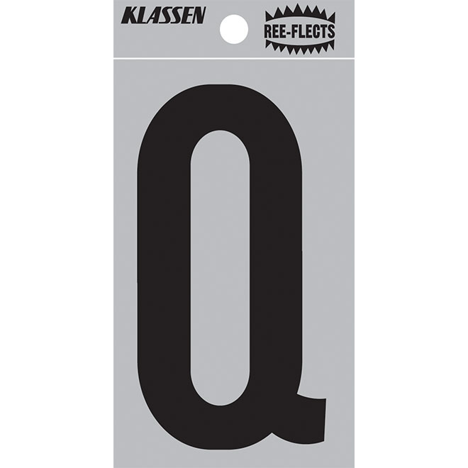 "Reflective Letter - Q - 3"" - Black"
