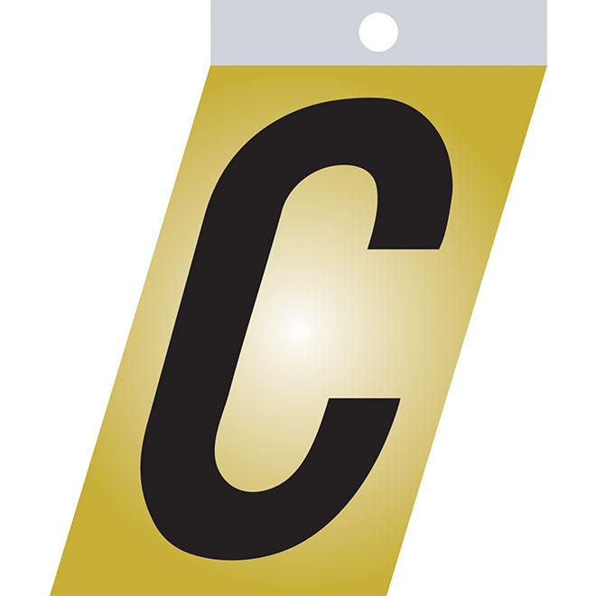 """Self-Adhesive Metal Letter - C - 1 1/2"""" - Black"""