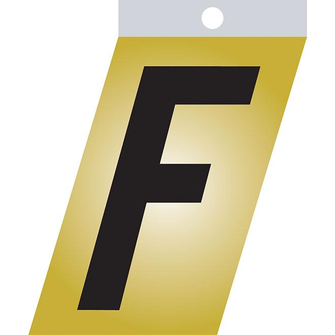 """Lettre autoadhésive en métal, F, 1 1/2"""", noir"""