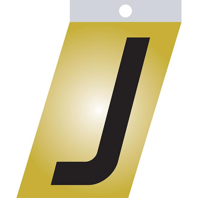 """Lettre autoadhésive en métal, J, 1 1/2"""", noir"""
