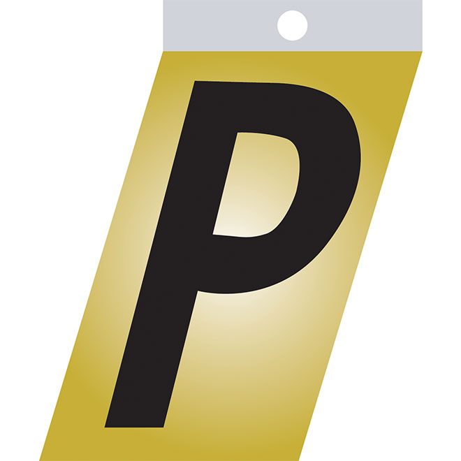 "Self-Adhesive Metal Letter - P - 1 1/2"" - Black"