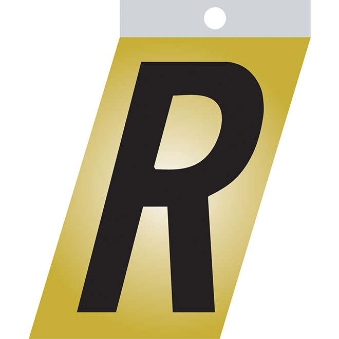 "Self-Adhesive Metal Letter - R - 1 1/2"" - Black"