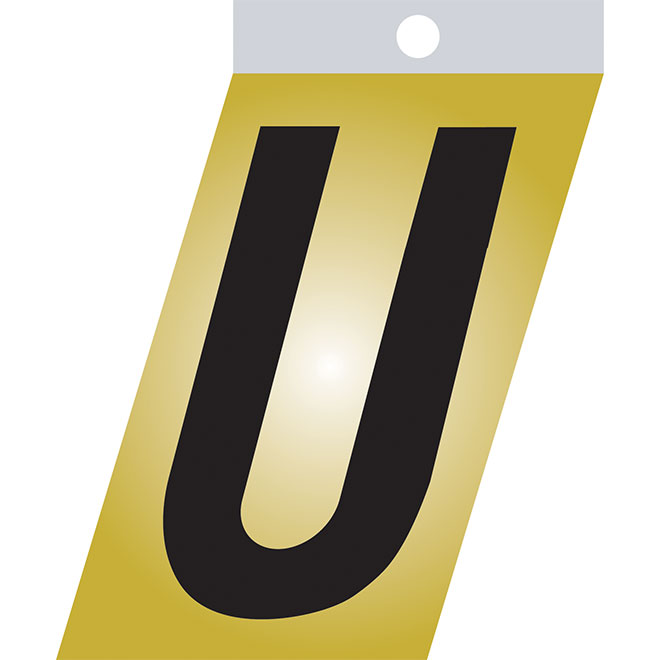 "Self-Adhesive Metal Letter - U - 1 1/2"" - Black"