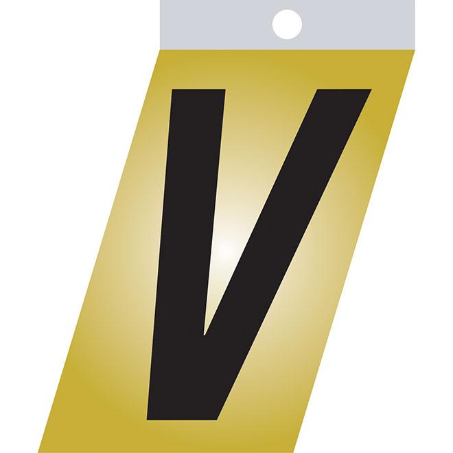 "Self-Adhesive Metal Letter - V - 1 1/2"" - Black"