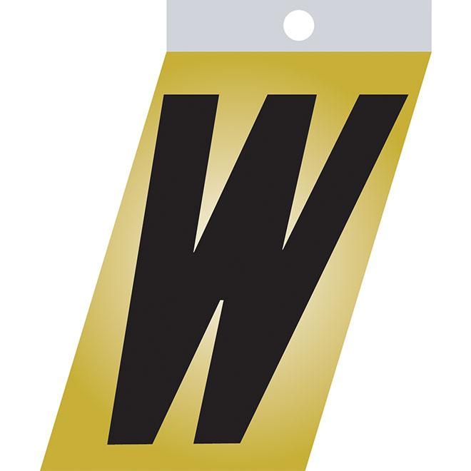 "Self-Adhesive Metal Letter - W - 1 1/2"" - Black"