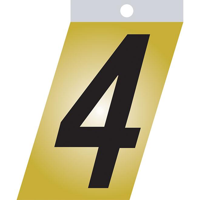 """Chiffre autoadhésif, métal, #4, 1 1/2"""", noir"""