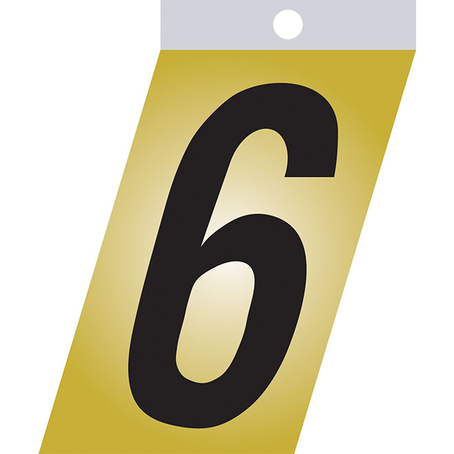 "Self-Adhesive Number - Metal - #6 - 1 1/2"" - Black"