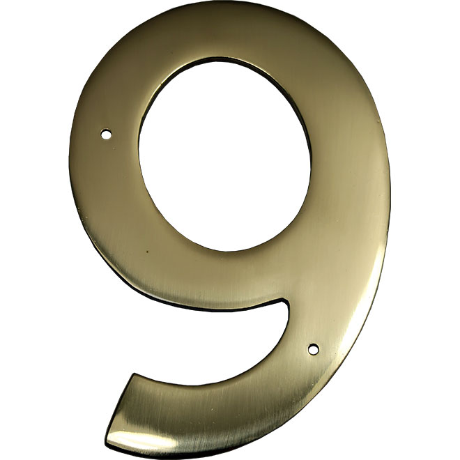 """Nail-On Metal Number - #9 - 3 1/2"""" -Brass"""